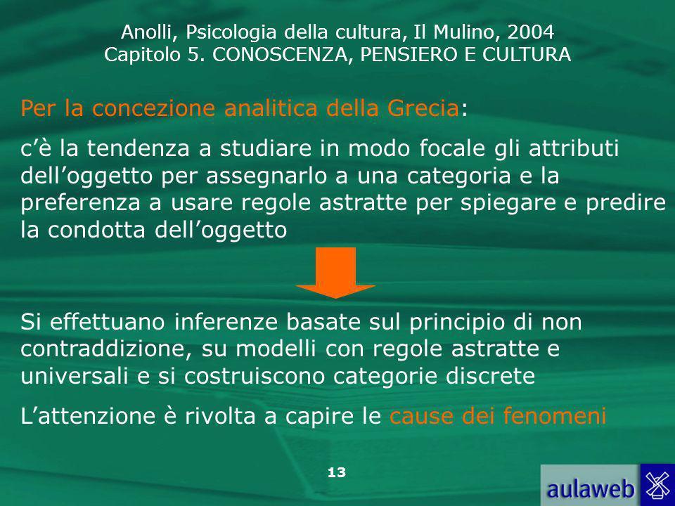 Anolli, Psicologia della cultura, Il Mulino, 2004 Capitolo 5. CONOSCENZA, PENSIERO E CULTURA 13 Per la concezione analitica della Grecia: cè la tenden