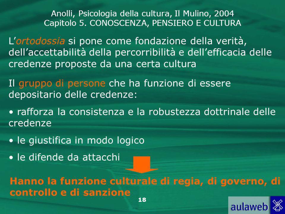 Anolli, Psicologia della cultura, Il Mulino, 2004 Capitolo 5. CONOSCENZA, PENSIERO E CULTURA 18 Lortodossia si pone come fondazione della verità, dell