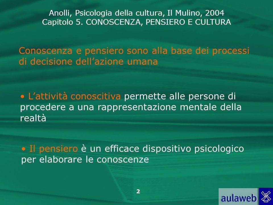 Anolli, Psicologia della cultura, Il Mulino, 2004 Capitolo 5. CONOSCENZA, PENSIERO E CULTURA 2 Conoscenza e pensiero sono alla base dei processi di de