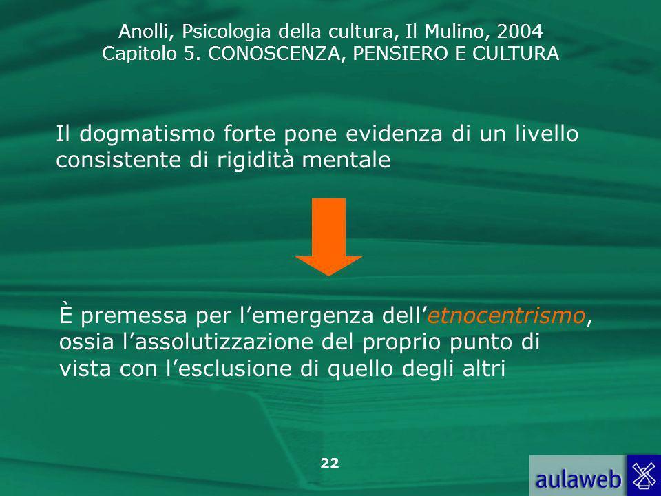 Anolli, Psicologia della cultura, Il Mulino, 2004 Capitolo 5. CONOSCENZA, PENSIERO E CULTURA 22 Il dogmatismo forte pone evidenza di un livello consis