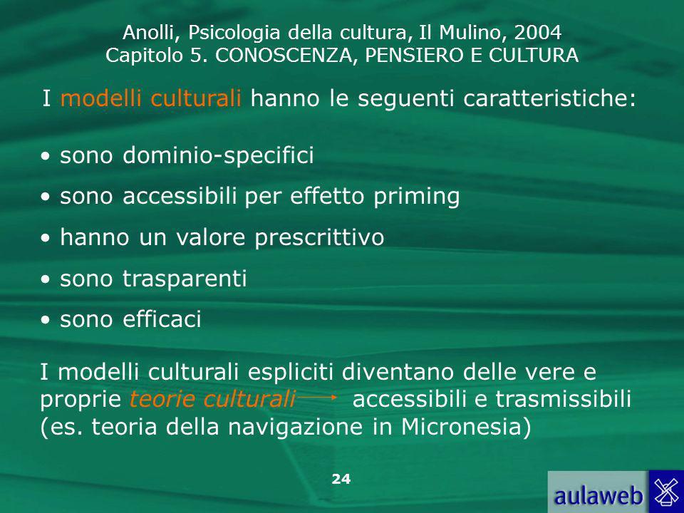 Anolli, Psicologia della cultura, Il Mulino, 2004 Capitolo 5. CONOSCENZA, PENSIERO E CULTURA 24 I modelli culturali hanno le seguenti caratteristiche: