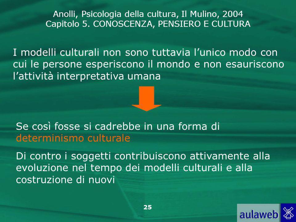 Anolli, Psicologia della cultura, Il Mulino, 2004 Capitolo 5. CONOSCENZA, PENSIERO E CULTURA 25 I modelli culturali non sono tuttavia lunico modo con