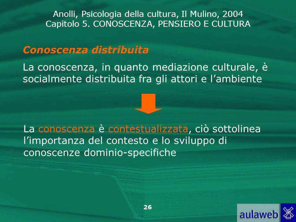 Anolli, Psicologia della cultura, Il Mulino, 2004 Capitolo 5. CONOSCENZA, PENSIERO E CULTURA 26 Conoscenza distribuita La conoscenza, in quanto mediaz