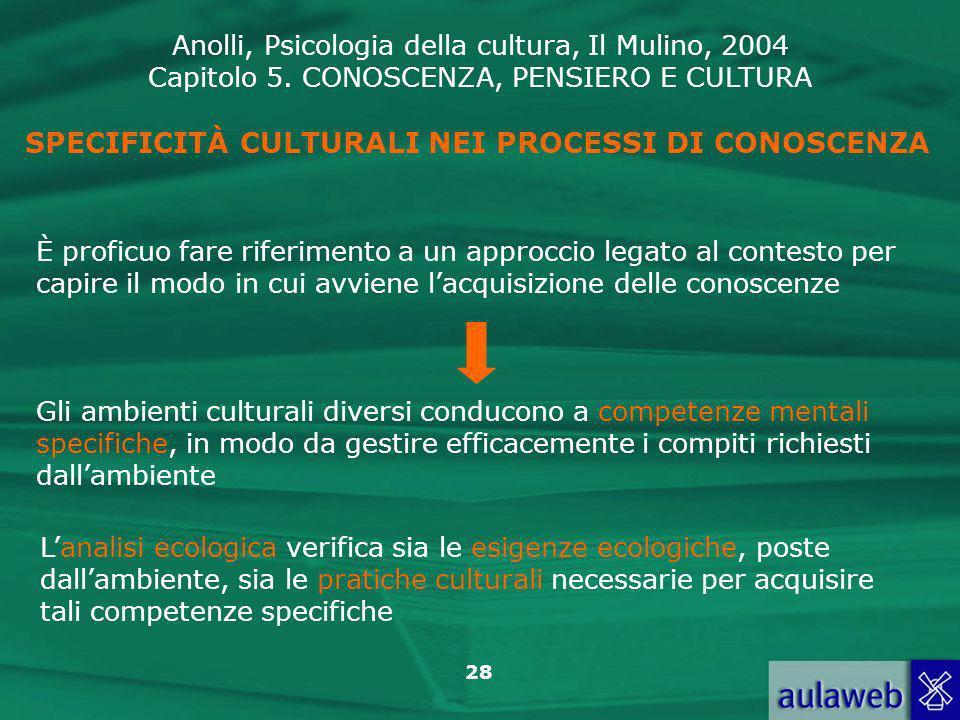 Anolli, Psicologia della cultura, Il Mulino, 2004 Capitolo 5. CONOSCENZA, PENSIERO E CULTURA 28 SPECIFICITÀ CULTURALI NEI PROCESSI DI CONOSCENZA È pro
