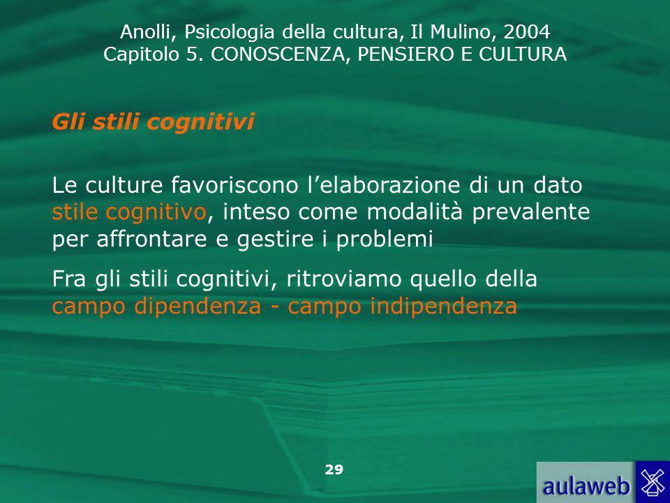 Anolli, Psicologia della cultura, Il Mulino, 2004 Capitolo 5. CONOSCENZA, PENSIERO E CULTURA 29 Gli stili cognitivi Le culture favoriscono lelaborazio