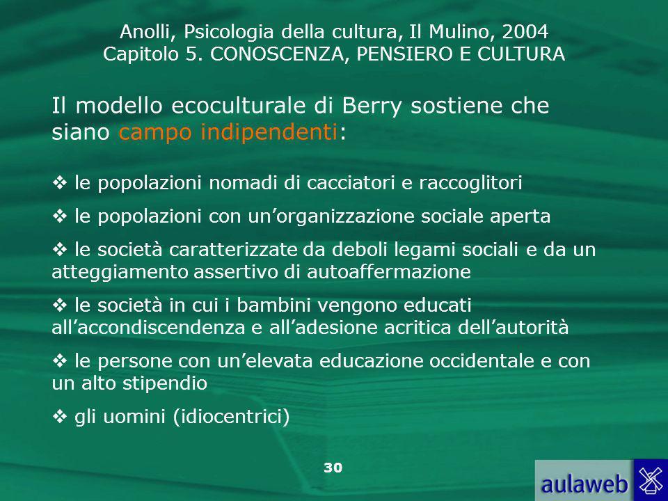 Anolli, Psicologia della cultura, Il Mulino, 2004 Capitolo 5. CONOSCENZA, PENSIERO E CULTURA 30 Il modello ecoculturale di Berry sostiene che siano ca