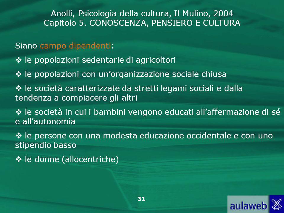 Anolli, Psicologia della cultura, Il Mulino, 2004 Capitolo 5. CONOSCENZA, PENSIERO E CULTURA 31 Siano campo dipendenti: le popolazioni sedentarie di a