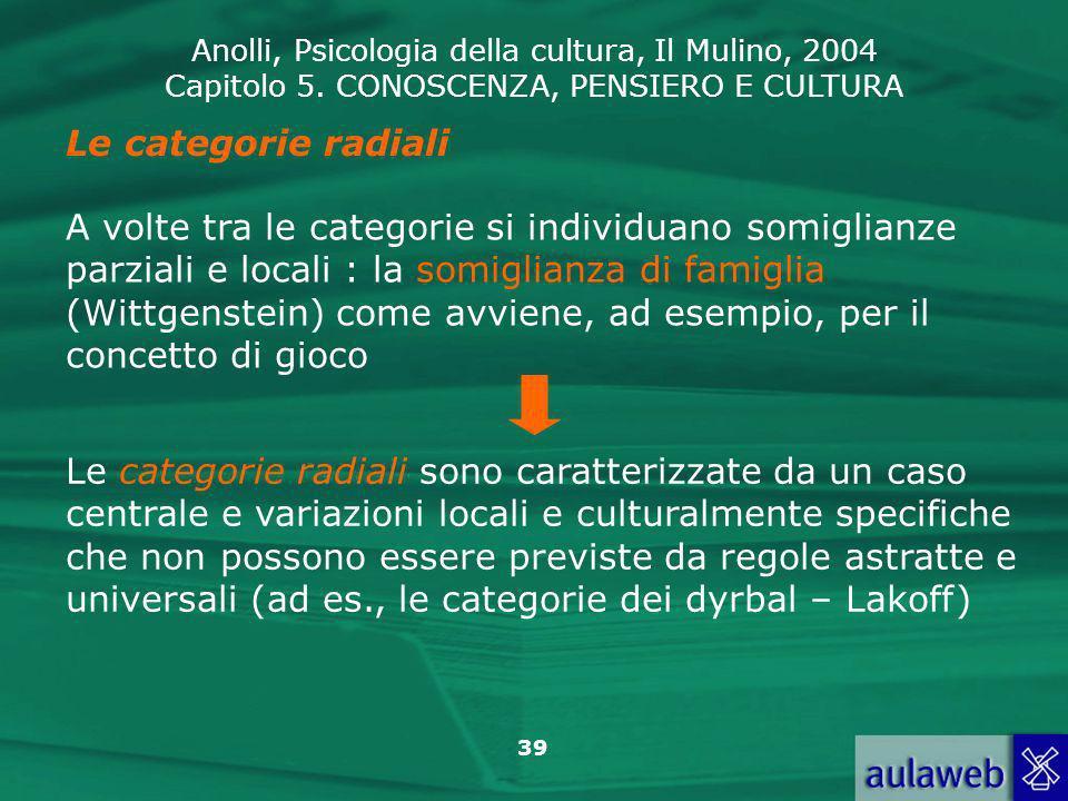 Anolli, Psicologia della cultura, Il Mulino, 2004 Capitolo 5. CONOSCENZA, PENSIERO E CULTURA 39 Le categorie radiali A volte tra le categorie si indiv