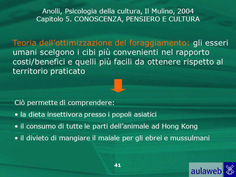Anolli, Psicologia della cultura, Il Mulino, 2004 Capitolo 5. CONOSCENZA, PENSIERO E CULTURA 41 Teoria dellottimizzazione del foraggiamento: gli esser