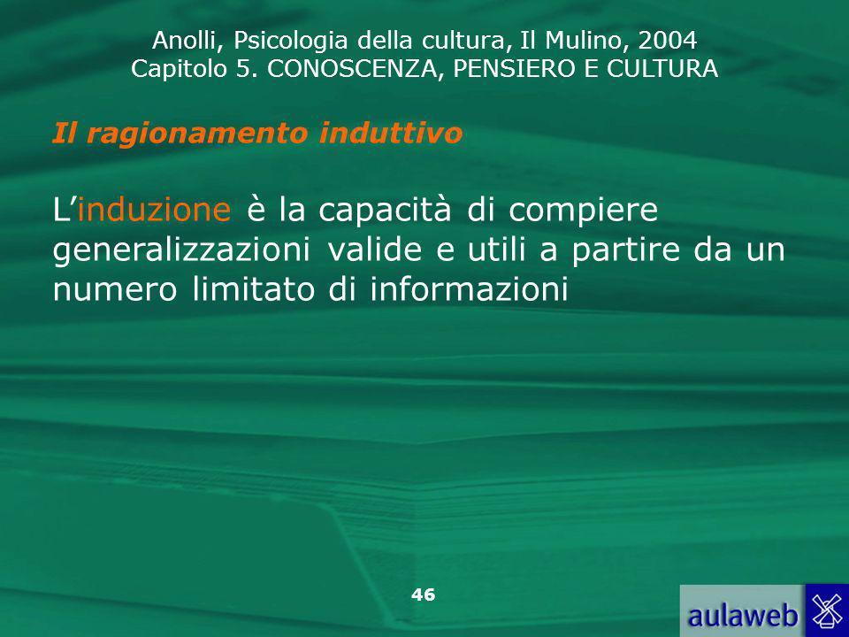 Anolli, Psicologia della cultura, Il Mulino, 2004 Capitolo 5. CONOSCENZA, PENSIERO E CULTURA 46 Il ragionamento induttivo Linduzione è la capacità di