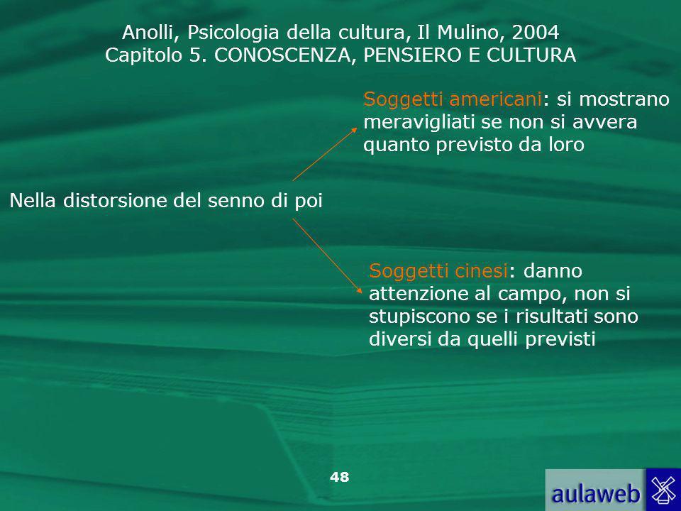 Anolli, Psicologia della cultura, Il Mulino, 2004 Capitolo 5. CONOSCENZA, PENSIERO E CULTURA 48 Nella distorsione del senno di poi Soggetti americani:
