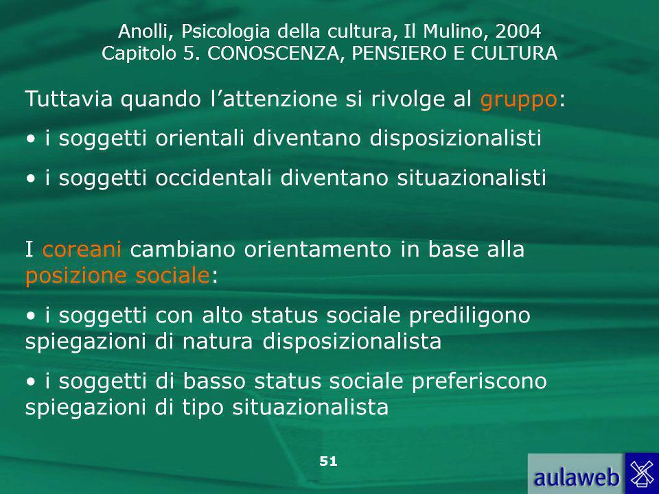 Anolli, Psicologia della cultura, Il Mulino, 2004 Capitolo 5. CONOSCENZA, PENSIERO E CULTURA 51 Tuttavia quando lattenzione si rivolge al gruppo: i so