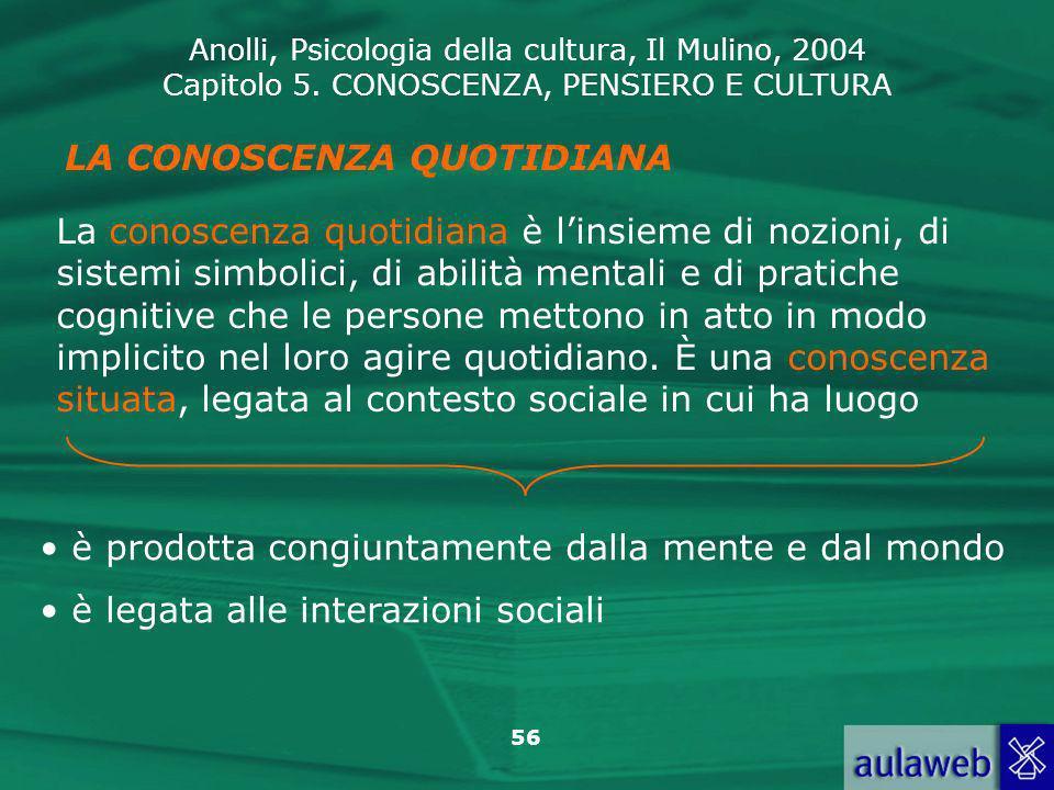 Anolli, Psicologia della cultura, Il Mulino, 2004 Capitolo 5. CONOSCENZA, PENSIERO E CULTURA 56 LA CONOSCENZA QUOTIDIANA La conoscenza quotidiana è li
