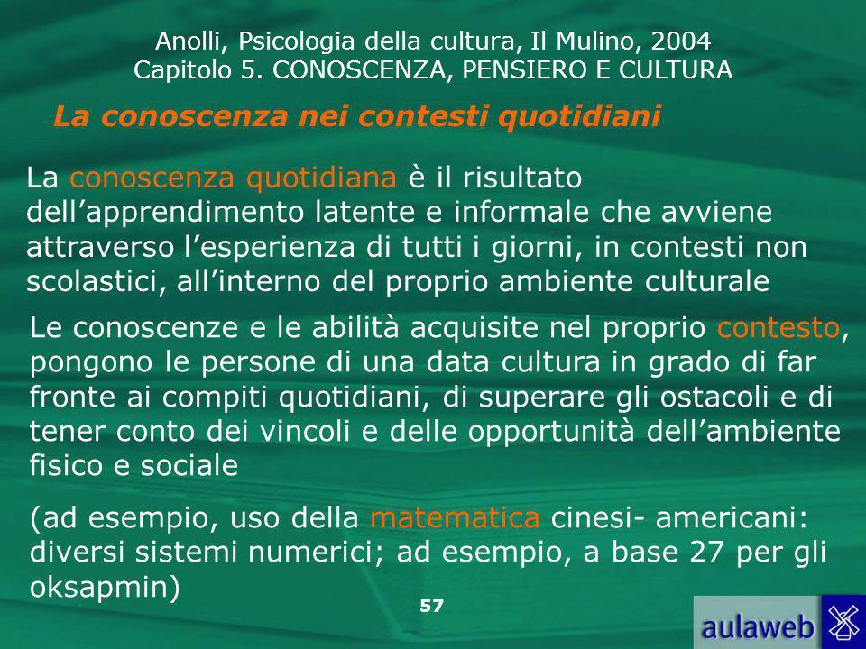 Anolli, Psicologia della cultura, Il Mulino, 2004 Capitolo 5. CONOSCENZA, PENSIERO E CULTURA 57 La conoscenza nei contesti quotidiani La conoscenza qu
