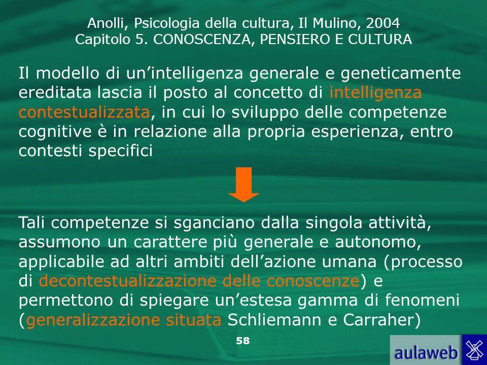 Anolli, Psicologia della cultura, Il Mulino, 2004 Capitolo 5. CONOSCENZA, PENSIERO E CULTURA 58 Il modello di unintelligenza generale e geneticamente