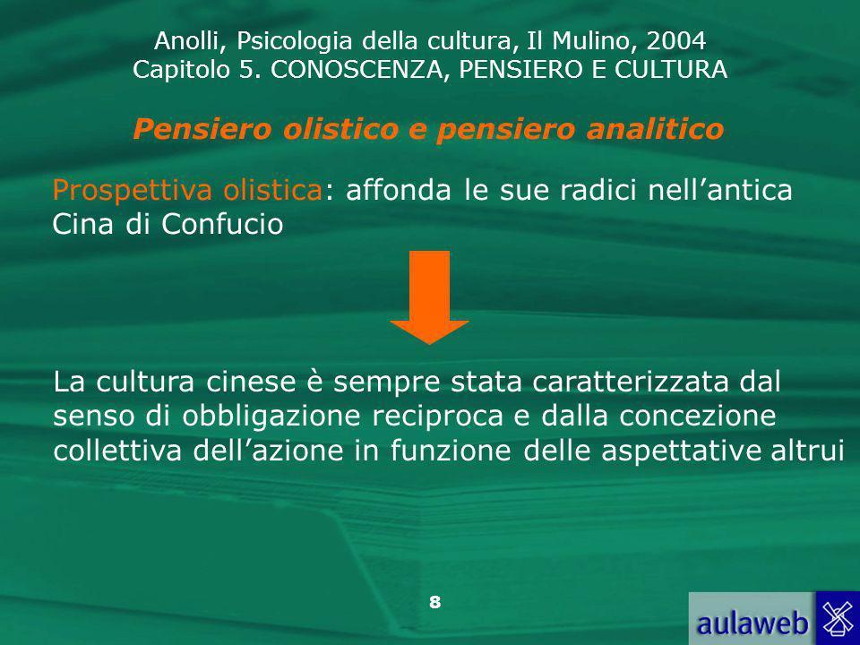 Anolli, Psicologia della cultura, Il Mulino, 2004 Capitolo 5. CONOSCENZA, PENSIERO E CULTURA 8 Pensiero olistico e pensiero analitico Prospettiva olis