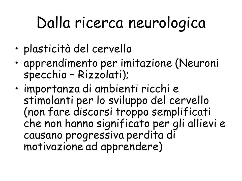 Dalla ricerca neurologica plasticità del cervello apprendimento per imitazione (Neuroni specchio – Rizzolati); importanza di ambienti ricchi e stimola
