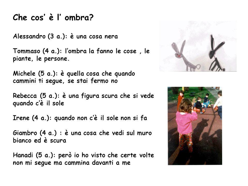 Che cos è l ombra? Alessandro (3 a.): è una cosa nera Tommaso (4 a.): lombra la fanno le cose, le piante, le persone. Michele (5 a.): è quella cosa ch
