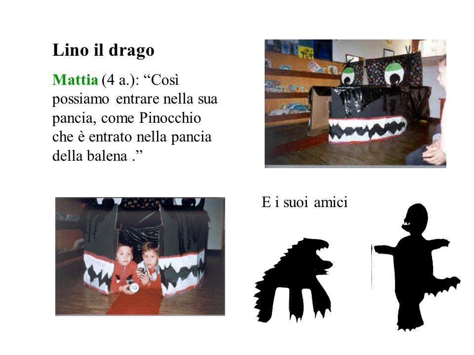 Lino il drago Mattia (4 a.): Così possiamo entrare nella sua pancia, come Pinocchio che è entrato nella pancia della balena. E i suoi amici