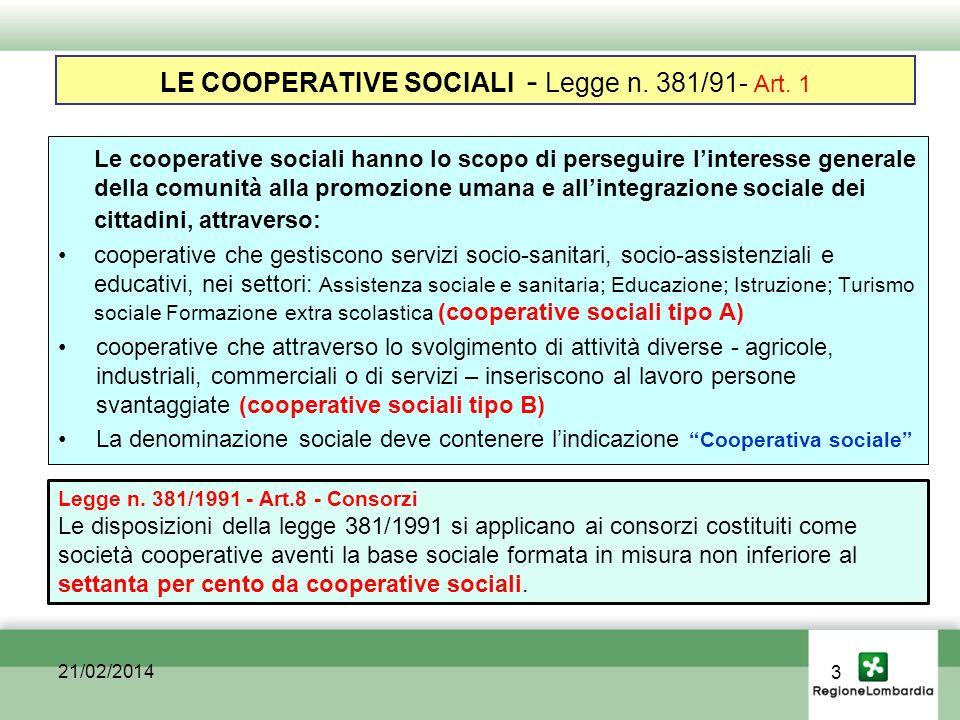 LE COOPERATIVE SOCIALI - Legge n. 381/91- Art.