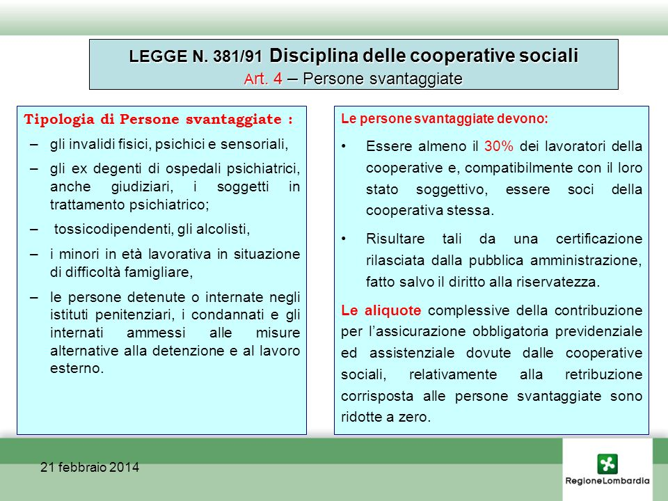 Cooperazione sociale Sezionev.a.% Sezione A 1.073 64,40 Sezione B 531 31,88 Sezione C 62 3,72 Totale 1.666 100 21/02/2014Cooperazione e responsabilità sociale d impresa Soci: totale n.