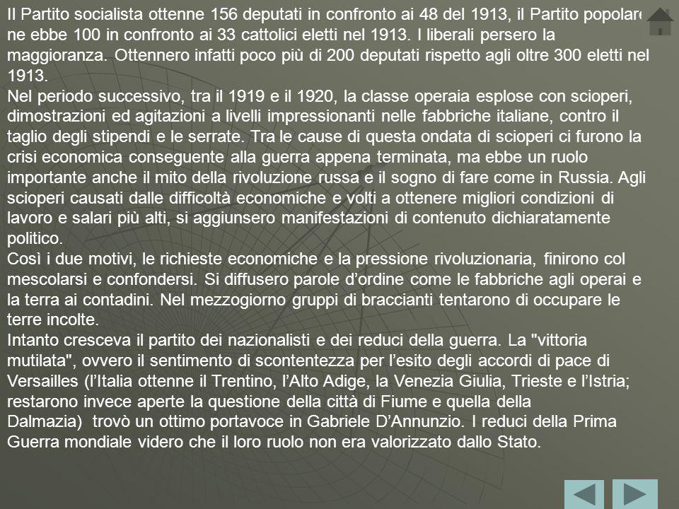 Introduzione Dopo la fine della Prima Guerra Mondiale, anche l'Italia soffrì di gravi difficoltà economiche. La disoccupazione, la riconversione indus