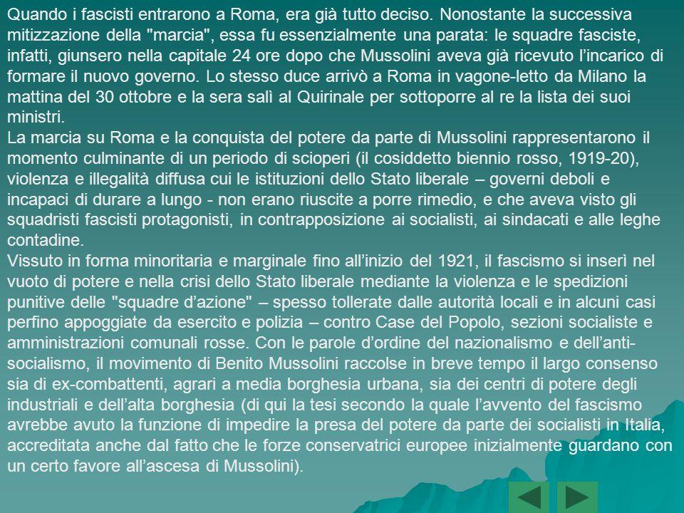 Secondo i piani, il quadrunvirato, insediato a Perugia, avrebbe assunto nella notte tra il 26 e il 27 i pieni poteri e nei due giorni successivi sarebbe seguita la mobilitazione delle squadre fasciste che avrebbero occupato i punti chiave dell Italia centrale.