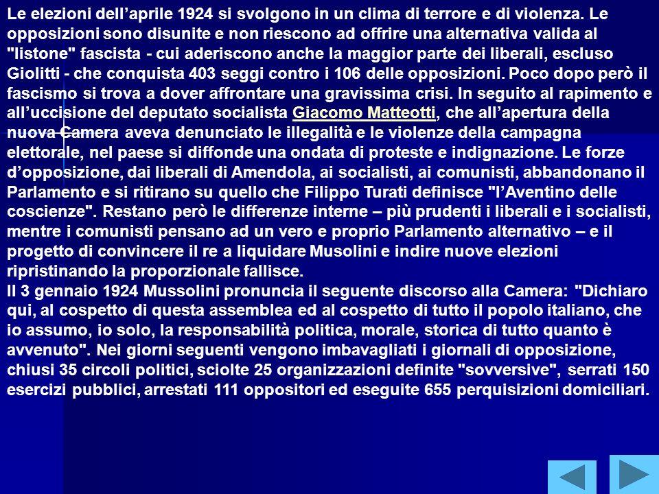 La nascita della dittatura (1922-1926) Il primo governo Mussolini, al quale partecipano anche ministri liberali, ottiene il voto di fiducia di un ampio fronte parlamentare che va dalla maggioranza dei liberali al partito popolare (306 voti favorevoli e 116 contrari).