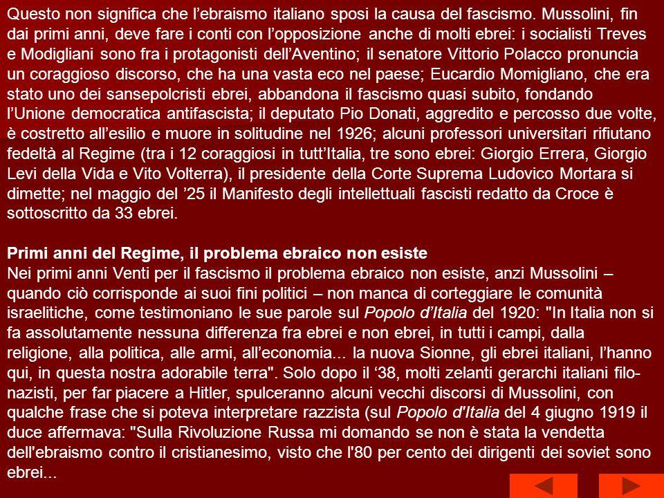 Lavvento del fascismo non mette in crisi lintegrazione degli ebrei in Italia.