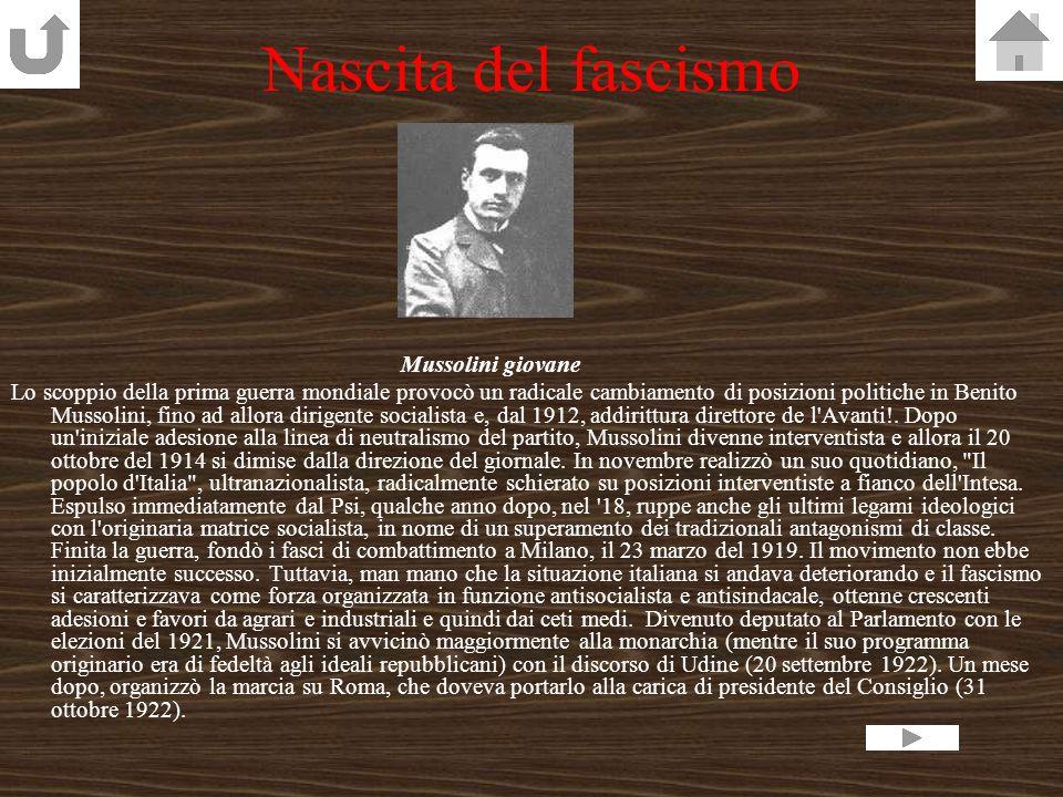 Il fascismo Nascita Struttura Il bienni rosso La marcia su Roma La nascita della dittaturaLa nascita della dittatura La guerra di Etiopia Gli ebrei ed