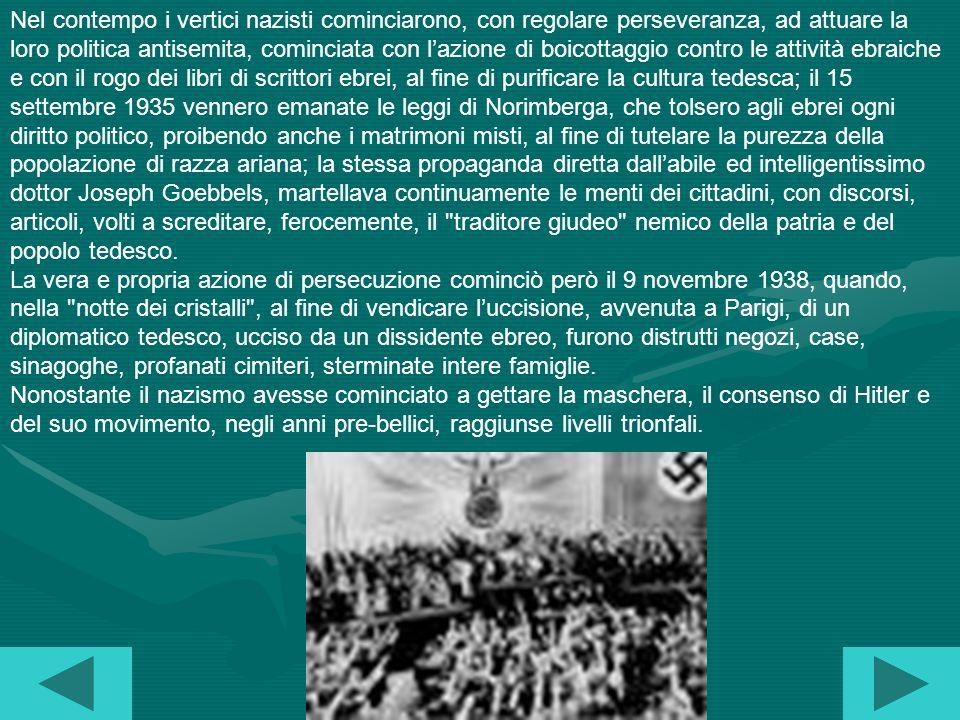 Il 26 aprile 1933 nacque la temibile GESTAPO, la polizia segreta, la quale, insieme alle SA, diede il via, in tutto il paese, a terrificanti azioni di repressione; il 14 luglio, il partito nazional-socialista divenne lunico consentito mentre tutti i movimenti della defunta repubblica di Weimar vennero eliminati.