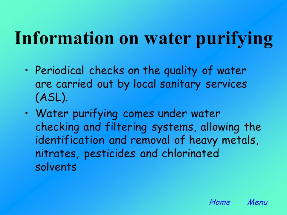 Purification techniques Water is collected in a tank. It then passes into a settling tank. A chemical agent flocculant is added, which ionizes the wat