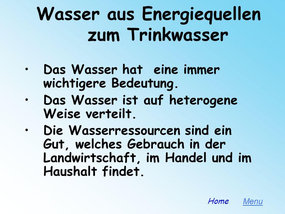 FRESHWATER NETWORK PROJECT Einleitung Hydroelektrische Energie Wasserwerke und Techniken zur WasseraufbereitungWasserwerke und Techniken zur Wasserauf