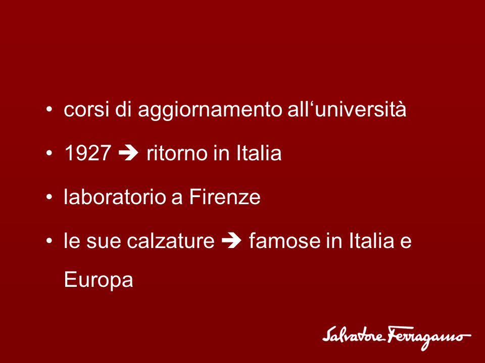 corsi di aggiornamento alluniversità 1927 ritorno in Italia laboratorio a Firenze le sue calzature famose in Italia e Europa