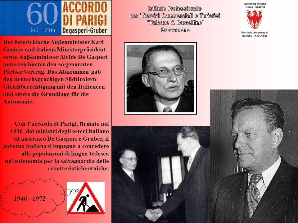 1946 - 1972 Der österichische Auβenminister Karl Gruber und italiens Ministerpräsident sowie Auβenminister Alcide De Gasperi unterzeichneten den so ge