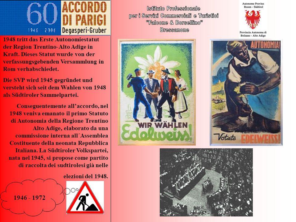 1946 - 1972 1948 tritt das Erste Autonomiestatut der Region Trentino-Alto Adige in Kraft. Dieses Statut wurde von der verfassungsgebenden Versammlung