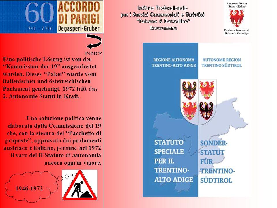 1946-1972 Eine politische Lösung ist von der Kommission der 19 ausgearbeitet worden. Dieses Paket wurde vom italienischen und österreichischen Parlame