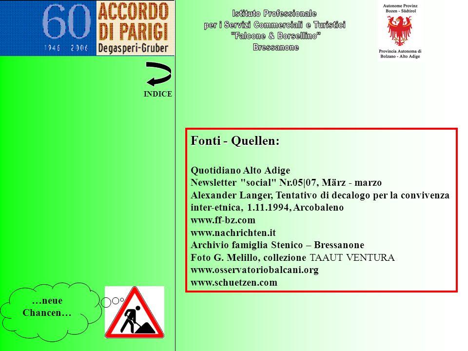 …neue Chancen… INDICE Fonti - Quellen: Quotidiano Alto Adige Newsletter