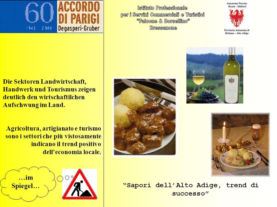 Latte dell Alto Adige, oro bianco di qualità I vini altoatesini conquistano 4 Oscar Lo speck arriva anche a Tokio …allo specchio …