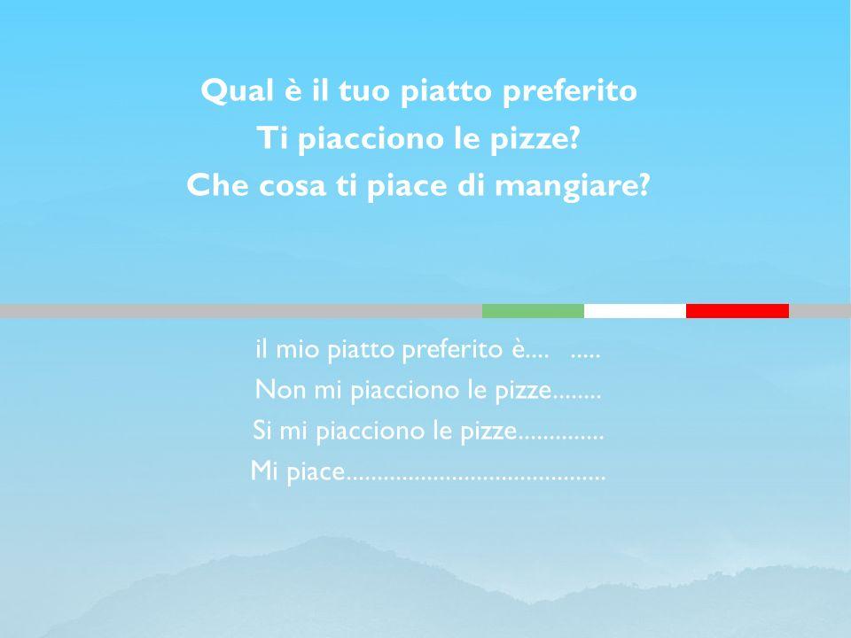il mio piatto preferito è......... Non mi piacciono le pizze........ Si mi piacciono le pizze.............. Mi piace..................................