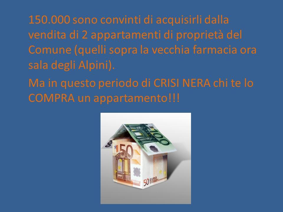 150.000 sono convinti di acquisirli dalla vendita di 2 appartamenti di proprietà del Comune (quelli sopra la vecchia farmacia ora sala degli Alpini).