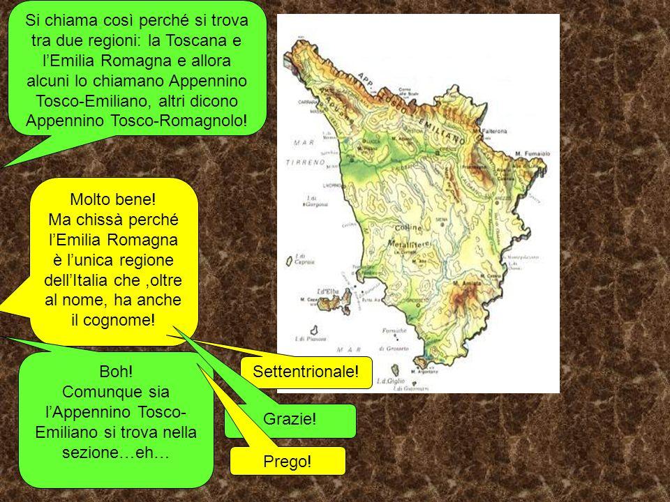 Si chiama così perché si trova tra due regioni: la Toscana e lEmilia Romagna e allora alcuni lo chiamano Appennino Tosco-Emiliano, altri dicono Appennino Tosco-Romagnolo.