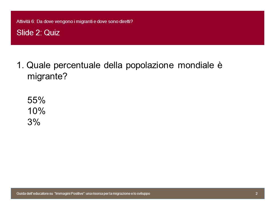 Attività 6: Da dove vengono i migranti e dove sono diretti? Slide 2: Quiz 1. Quale percentuale della popolazione mondiale è migrante? 55% 10% 3% Guida