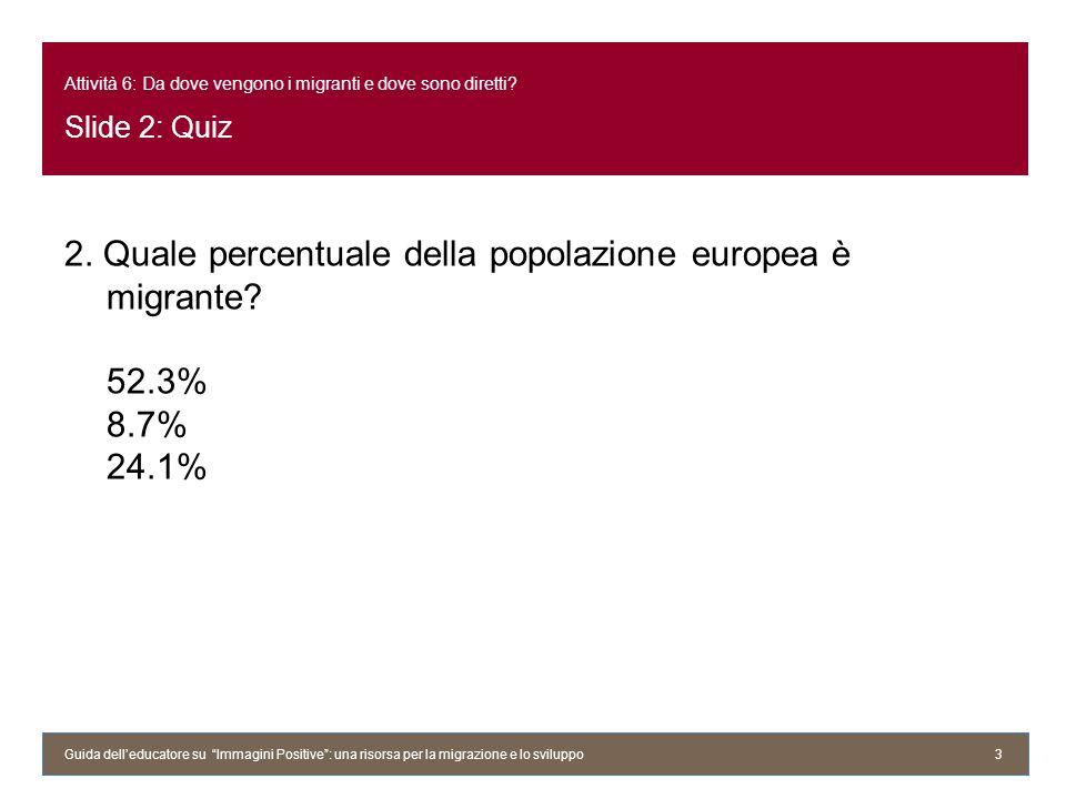Attività 6: Da dove vengono i migranti e dove sono diretti? Slide 2: Quiz 2. Quale percentuale della popolazione europea è migrante? 52.3% 8.7% 24.1%