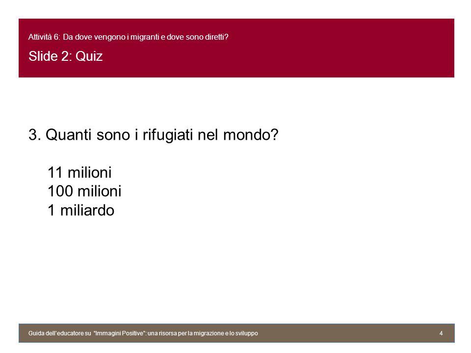 Attività 6: Da dove vengono i migranti e dove sono diretti? Slide 2: Quiz 3. Quanti sono i rifugiati nel mondo? 11 milioni 100 milioni 1 miliardo Guid