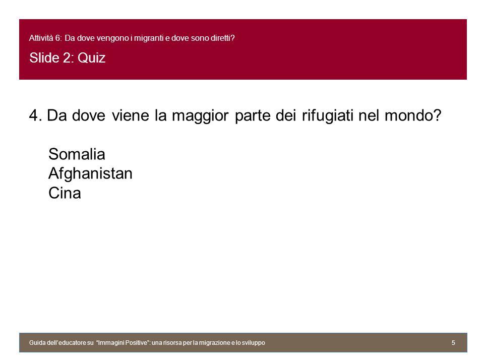 Attività 6: Da dove vengono i migranti e dove sono diretti? Slide 2: Quiz 4. Da dove viene la maggior parte dei rifugiati nel mondo? Somalia Afghanist