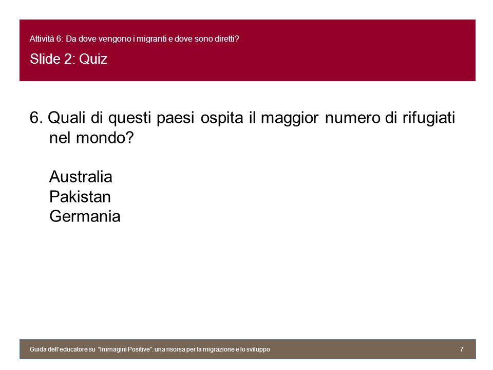 Attività 6: Da dove vengono i migranti e dove sono diretti? Slide 2: Quiz 6. Quali di questi paesi ospita il maggior numero di rifugiati nel mondo? Au