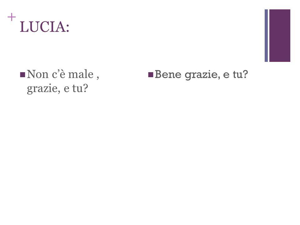 + LILIANA: Ciao Lucia, come va