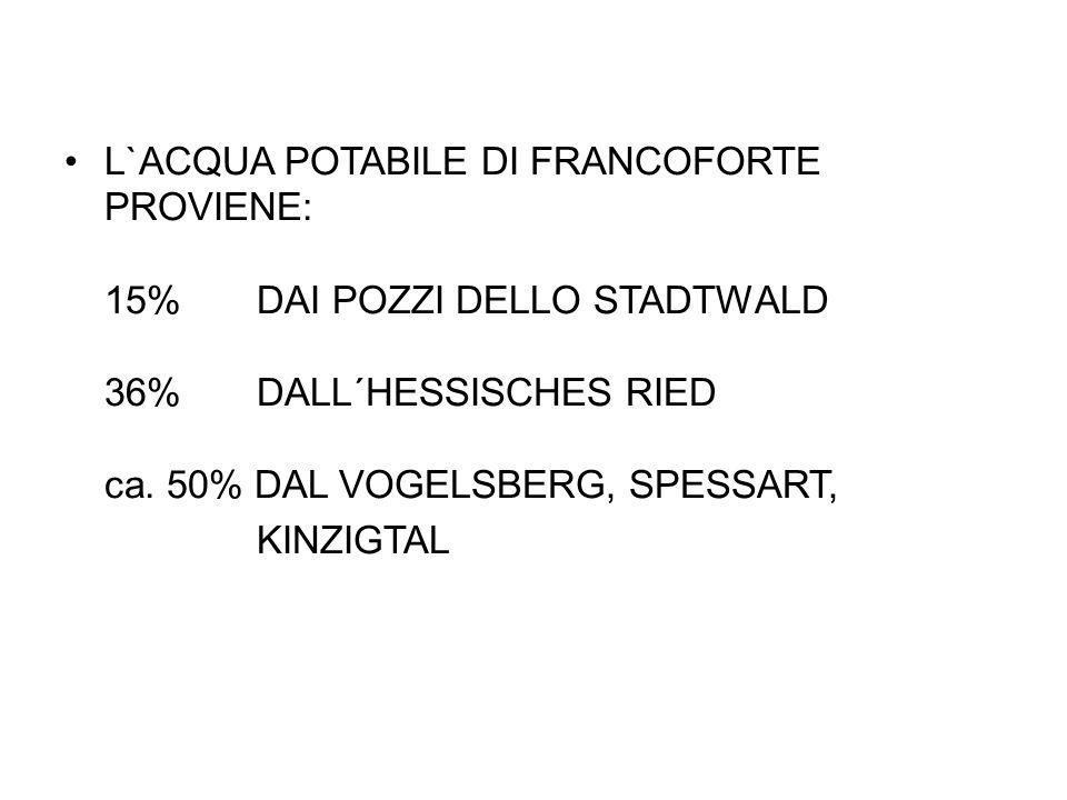 L`ACQUA POTABILE DI FRANCOFORTE PROVIENE: 15% DAI POZZI DELLO STADTWALD 36% DALL´HESSISCHES RIED ca.