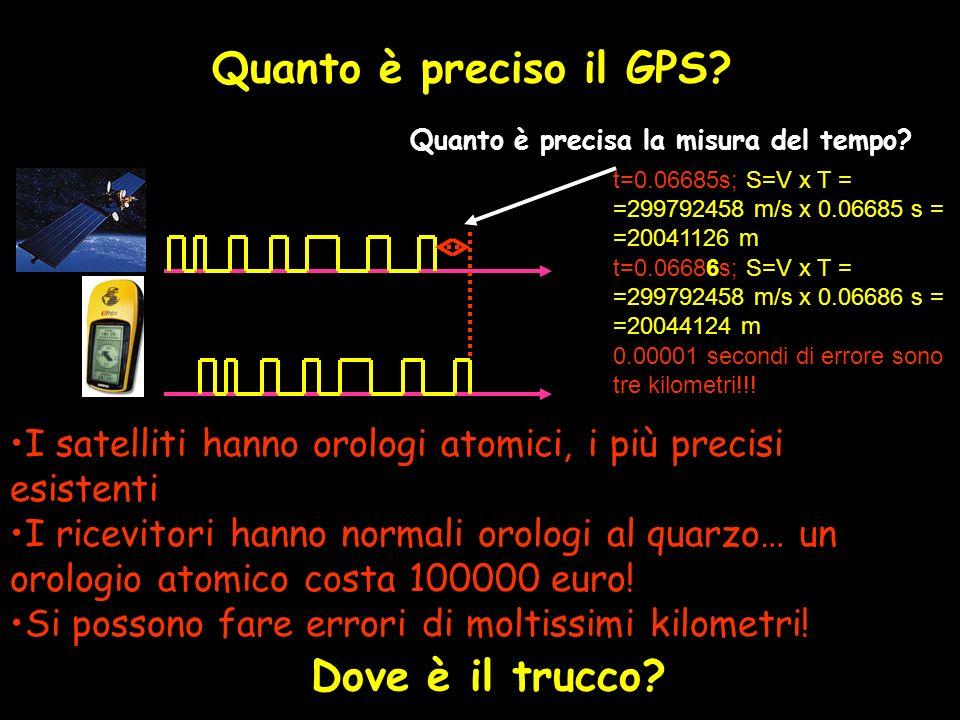 Quanto è preciso il GPS? Quanto è precisa la misura del tempo? I satelliti hanno orologi atomici, i più precisi esistenti I ricevitori hanno normali o